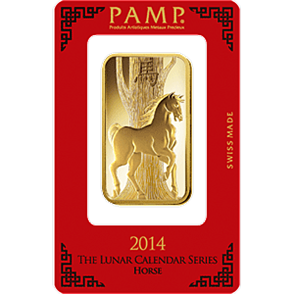 PAMP Lunar Series 2014 Gold Bar - Year of the Horse - 1 oz