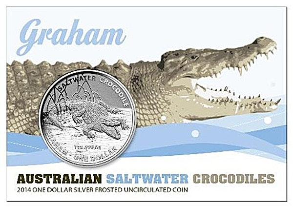Royal Australian Mint Silver Saltwater Crocodile Series 2014 - Graham - Circulated in good condition - 1 oz