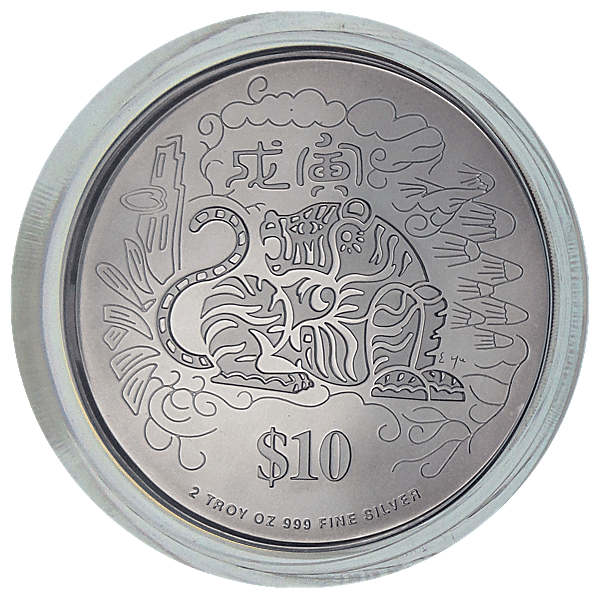 Singapore Mint Silver Piedfort Proof Coin 1998 - Year of the Tiger - 2 oz