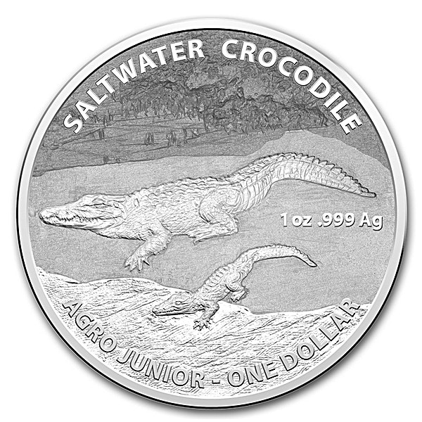 Royal Australian Mint Silver Saltwater Crocodile Series 2015 - Agro Jr - Circulated in good condition - 1 oz
