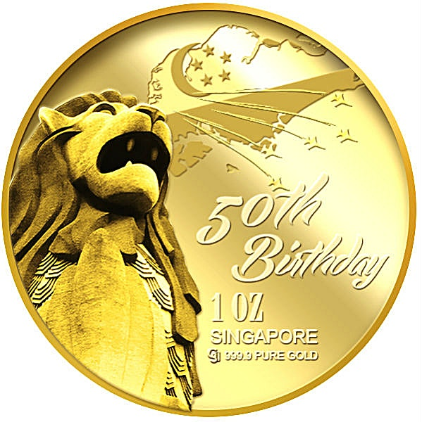 Singapore 50th Anniversary Gold Medallion 2015 - 1 oz
