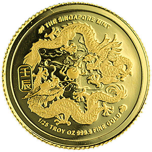 Singapore Mint Gold 2012 - Year of the Dragon - 1/25 oz
