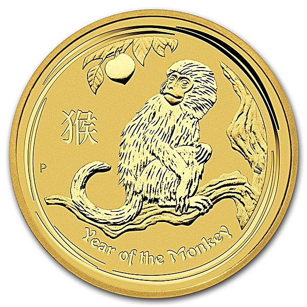 Australian Gold Lunar Series 2016 - Year of the Monkey - 1/2 oz