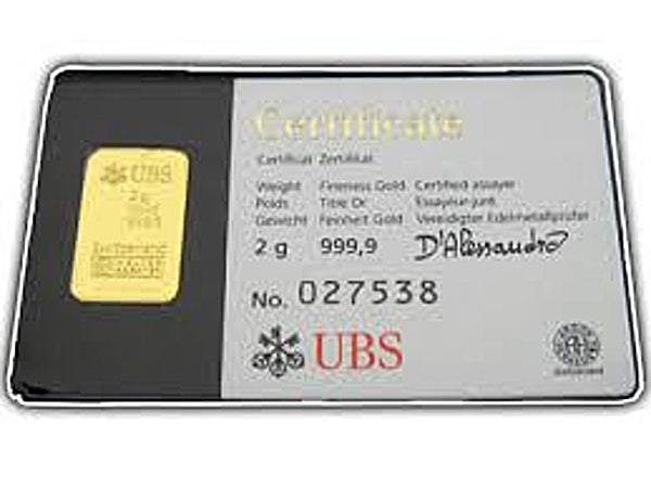 UBS Kinebar Gold Bar - Circulated in good condition - 2 g