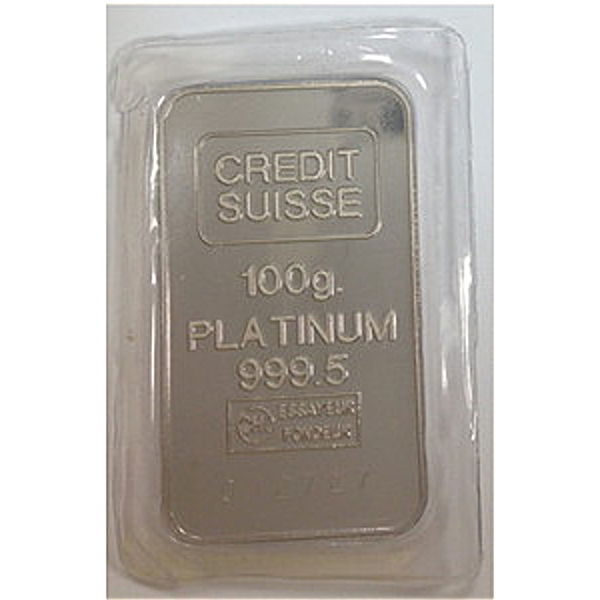 Credit Suisse Platinum Bar - Circulated in good condition - 100 g