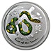 Australian Silver Lunar Series 2013 - Year of the Snake - Colourized - 1 oz thumbnail
