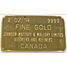 Johnson Matthey & Mallory Gold Bar - Circulated in Good Condition - 2 oz