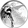 Singapore 50th Anniversary Silver Medallion - Merlion with Singapore Map Design - 1 oz
