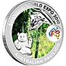 Australian Silver Shanghai World Expo Australian Pavilion - Koala and Panda Design - 1 oz