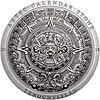 Cook Islands Silver Aztec Calendar - Antique finish with box and COA - 3 oz