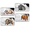Tuvalu Silver Lunar Series - Year of the Pig - 4 coin rectangle proof set - 4 oz