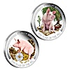 Australian Silver Lunar Series 2019 - Year of the Pig - Wealth and Wisdom Proof Set - 2 coins of 1 oz with Box and COA