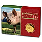 Australian Gold Lunar Series 2019 - Year of the Pig - Proof - 1/4 oz thumbnail