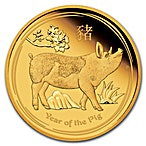Australian Gold Lunar Series 2019 - Year of the Pig - Proof - 1/10 oz thumbnail
