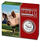 Australian Silver Lunar Series 2019 - Year of the Pig - Proof High Relief - With Box and COA - 1 oz thumbnail