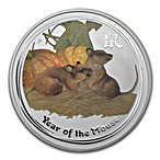 Australian Silver Lunar Series 2008 - Year of the Mouse - Circulated in good condition - Colourized - 1 oz thumbnail