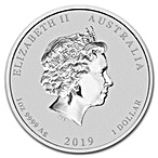 Australian Silver Lunar Series 2019 - Year of the Pig - Circulated in Good Condition - Gilded - 1 oz thumbnail