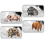 Tuvalu Silver Lunar Series - Year of the Pig 2019 - 4 coin rectangle proof set - 4 oz thumbnail