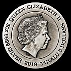 Tuvalu Silver Dragon 2019 - With box & COA - Antiqued High Relief - 5 oz thumbnail