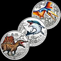 Austrian Copper Supersaurs Series - 3 copper coin set - Glow In The Dark