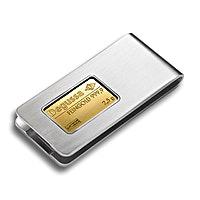 Stainless Steel Money Clip with 2.5 g Degussa Gold Bar