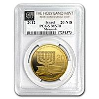 Israeli Gold Menorah 2012 - Graded MS 70 by PCGS - 1 oz