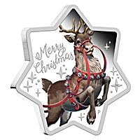 Australian Silver Christmas Reindeer 2019 - Star Shaped - Proof - 1 oz