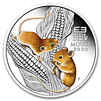 Australian Silver Lunar Series 2020 - Year of the Mouse - Colorized Proof - 1 oz
