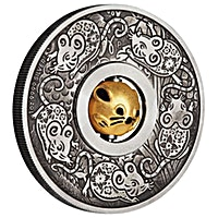 Australia Silver Lunar Series 2020 - Year of the Mouse Rotating Charm - Antiqued Finish - 1 oz