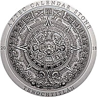 Cook Islands Silver Aztec Calendar 2018 - Antique finish with box and COA - 3 oz