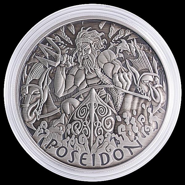 Tuvalu Silver Gods Of Olympus 2021 - Poseidon - Antiqued Finish - 1 oz