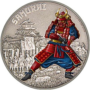 Niue 2016 Silver Warriors of History - Samurai - Antique Finish -1 oz