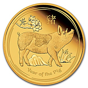 Australian Gold Lunar Series 2019 - Year of the Pig - Proof - 1/10 oz