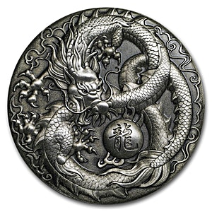 Tuvalu Silver Dragon 2018 - With box & COA - Antiqued High Relief - 5 oz
