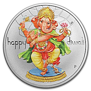 Happy Diwali Silver Coin - 1 oz 2018 - Proof - With Box and COA