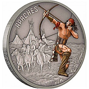 Niue Silver Warriors of History 2017 - Apache - Antique Finish -1 oz