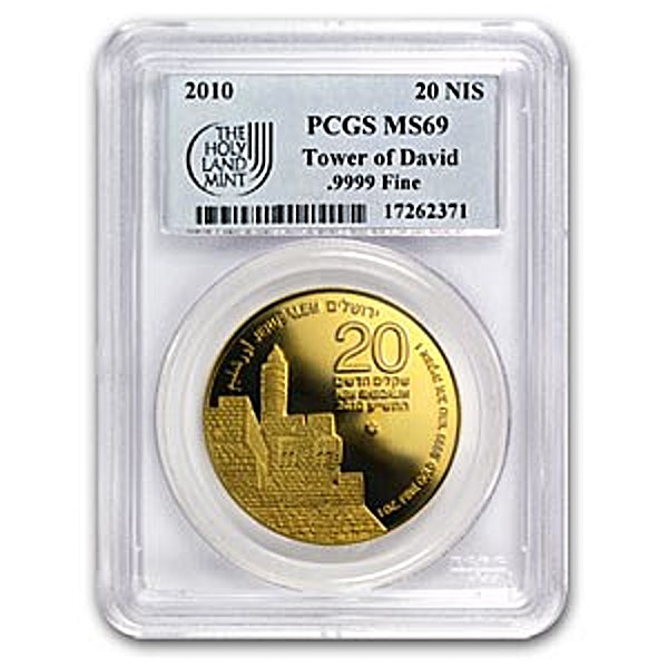 Israeli Gold Tower of David 2010 - Graded MS 69 by PCGS - 1 oz