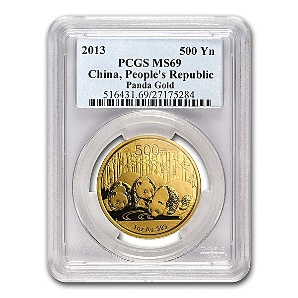 Chinese Gold Panda 2013 - Graded MS 69 by PCGS - 1 oz