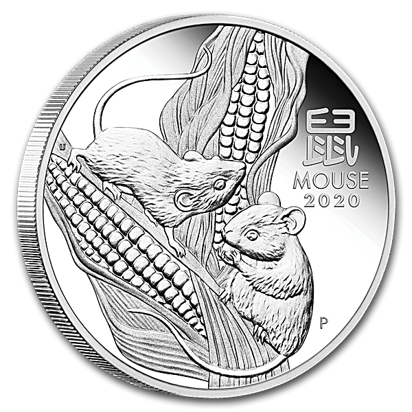 Australian Silver Lunar Series 2020 - Year of the Mouse - Proof - 1 oz