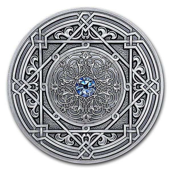 Fiji Silver Mandala Art Moresque 2018 - Antique Finish  - 3 oz