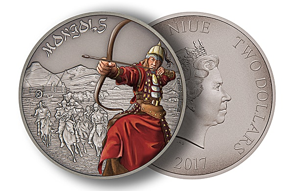 Niue 2017 Silver Warriors of History - Mongols - Antique Finish - 1 oz