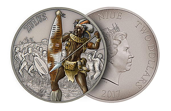 Niue 2017 Silver Warriors of History - Zulus - Antique Finish - 1 oz