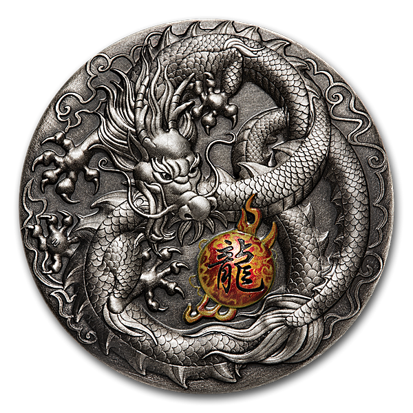 Tuvalu Silver Dragon 2019 - With box & COA - Antiqued High Relief - 5 oz