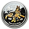 Australian Silver Lunar Series 2018 - Year of the Dog - Colourized - With Box and COA - 1 oz