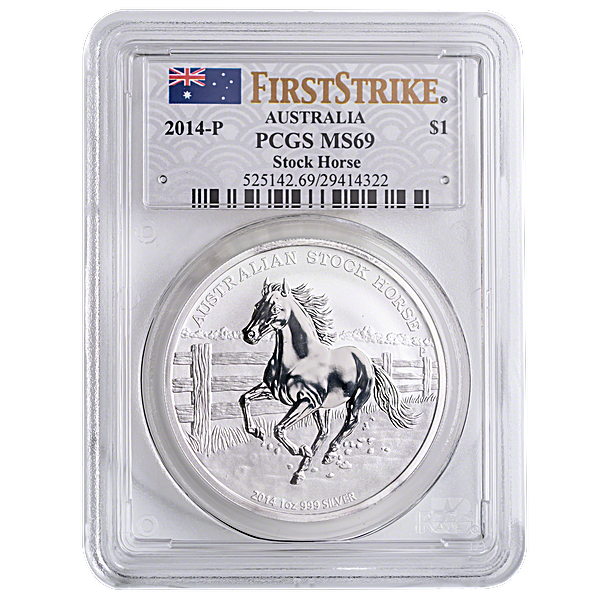 Australian Silver Stock Horse 2014 - PCGS MS 69 - Circulated in Good Condition - 1 oz