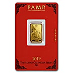 PAMP Lunar Series 2019 Gold Bar - Year of the Pig - 5 g