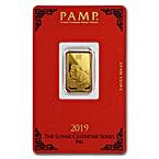 PAMP Lunar Series 2019 Gold Bar - Year of the Pig - 5 g