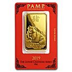 PAMP Lunar Series 2019 Gold Bar - Year of the Pig - 100 g thumbnail