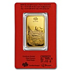 PAMP Lunar Series 2019 Gold Bar - Year of the Pig - 1 oz thumbnail