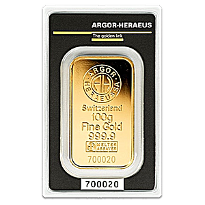 Argor-Heraeus Gold Bar - Circulated in good condition - 100 g